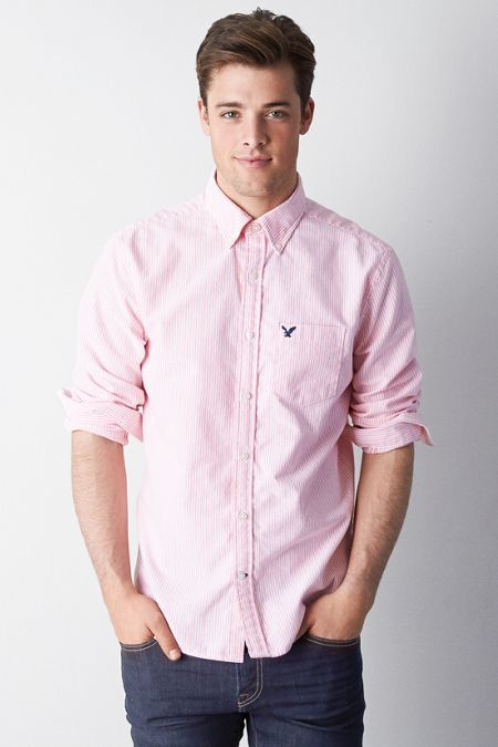 American Eagle Outfitters Striped Oxford Button Down Shirt | Where ...