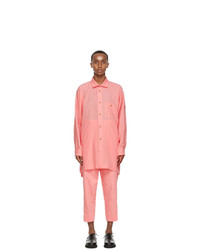 Issey Miyake Men Pink Drop Shoulder Shirt