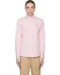 MAISON KITSUNÉ Pink Fox Head Embroidery Classic Shirt