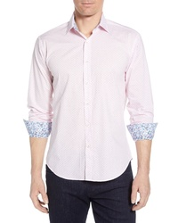 Bugatchi Shaped Fit Dot Cotton Sport Shirt