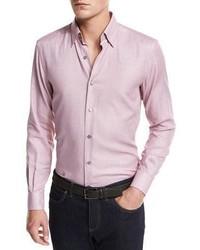 Solid woven sport shirt dark pink medium 949534