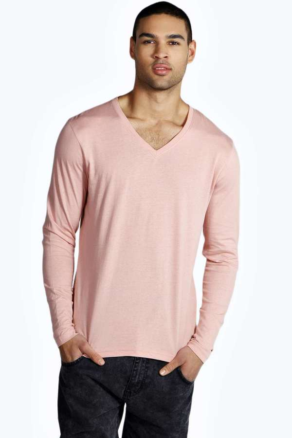 Boohoo Slim Fit V Neck Long Sleeve T Shirt | Where to buy & how to ...