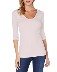 Michael Stars Shine Doubled Front V Neck Top