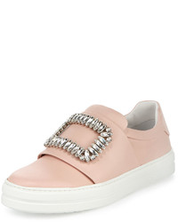 Roger Vivier Leather Strass Buckle Sneaker Pink