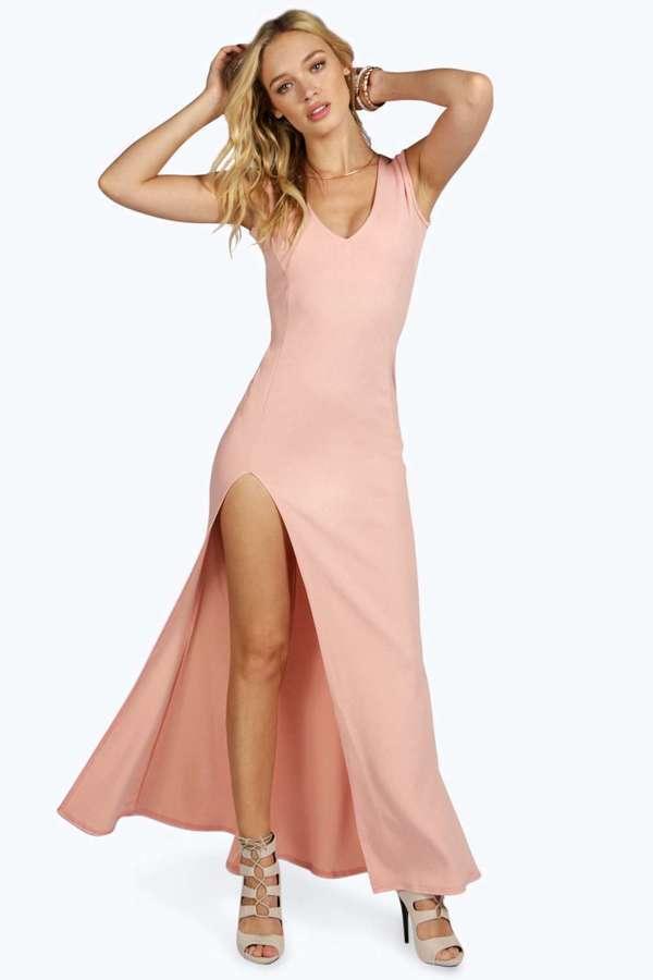 ce7708e4e15c Boohoo Sia Plunge Neck Fishtail Maxi Dress, $42 | BooHoo | Lookastic.com