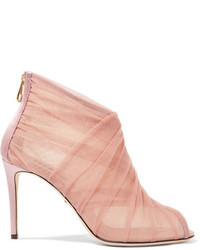 Dolce & Gabbana Keira Mesh And Tulle Ankle Boots Pastel Pink