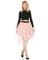 Dailylook tiered tulle midi skirt in pink xs l medium 134468