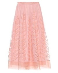 Redvalentino embroidered mesh midi skirt medium 6718485