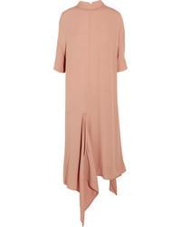 Asymmetric washed crepe midi dress pink medium 3778329
