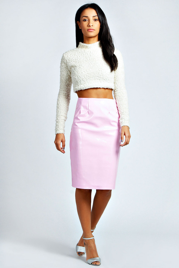 boohoo lexie high shine patent midi skirt where to buy