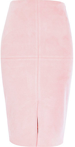 0a9337491a River Island Light Pink Faux Suede Pencil Skirt, $64 | River Island ...