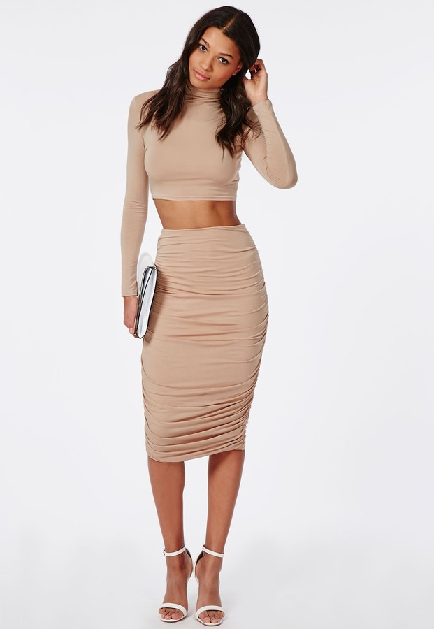 654ccf1a6 Missguided Ruched Seam Midi Skirt Nude, $30 | Missguided | Lookastic.com