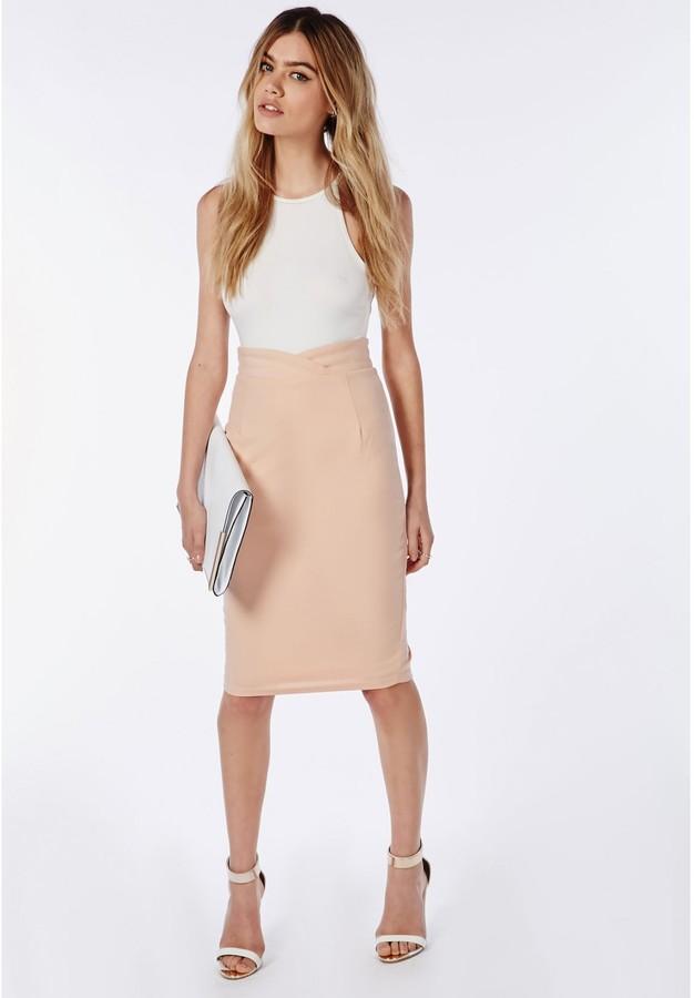 5ebd052177 Missguided Wrap Waistband High Waist Midi Skirt Nude, $50 ...