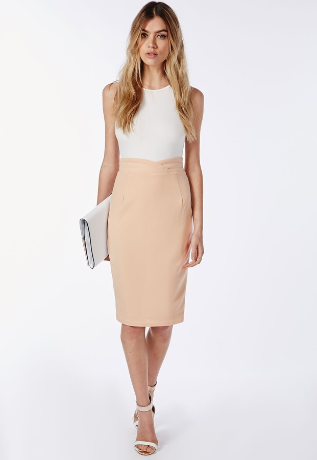Missguided Wrap Waistband High Waist Midi Skirt Nude | Where to ...
