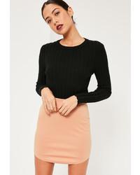 Missguided Pink Ponte Curve Hem Mini Skirt