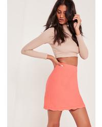 Missguided Scallop Hem Crepe Mini Skirt Pink