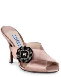 Prada Jeweled Satin Crisscross Mules