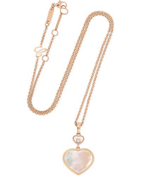 Chopard Happy Hearts 18 Karat Gold Diamond And Mother Of Pearl Necklace