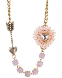 Betsey Johnson Pink Heart Arrow Necklace