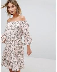 Vila Drop Hem Off The Shoulder Dress