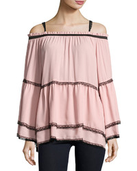Romeo & Juliet Couture Chiffon And Lace Off The Shoulder Top Pink