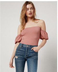 Express Petite Puff Sleeve Off The Shoulder Top