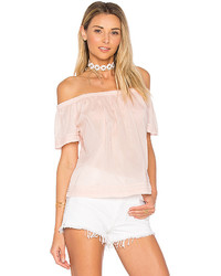 Bella Dahl Pintuck Off Shoulder Top In Pink