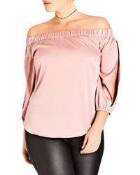 City Chic Plus Size Off The Shoulder Satin Top