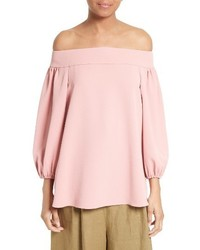 Tibi Twill Off The Shoulder Top