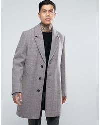 Asos Harris Tweed Overcoat In Pink Melange