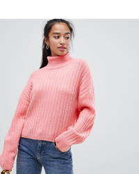 Asos Petite Asos Design Petite Fluffy Jumper In Rib With Roll Neck