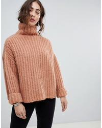 Free People Fluffy Fox Oversized Chunky High Neck Jumper