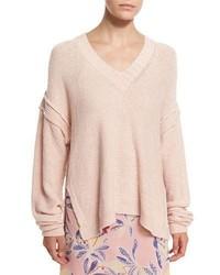 Oversized v neck pullover sweater pink medium 3640707