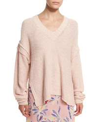 See by Chloe Oversized V Neck Pullover Sweater Pink