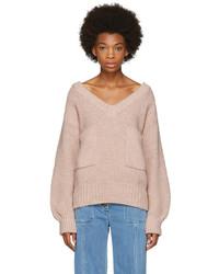 Pink oversized pocket v neck sweater medium 5081906