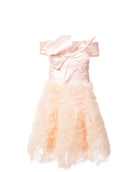 Marchesa Notte Frill Embroidered Dress