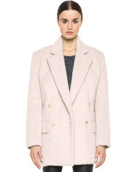 BLK DNM Double Breasted Wool Blend Coat In Dusty Pink