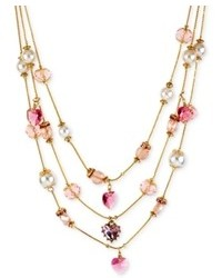 Betsey Johnson Gold Tone Pink Crystal Heart And Imitation Pearl Illusion Necklace