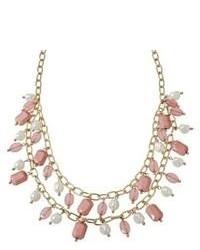 Bijou International Corporation Assorted Stone And Simulated Pearl Necklace Goldwhitepink