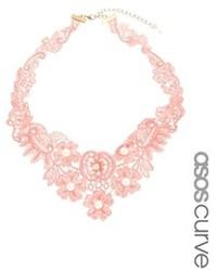 Asos Curve Curve Faux Pearl Bib Choker Necklace Pink