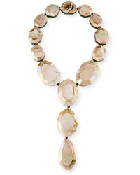 Faceted pink mother of pearl lariat necklace medium 4948674