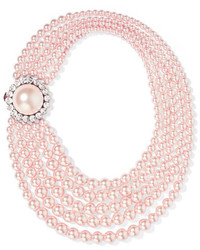 Faux pearl and crystal necklace pastel pink medium 5083687