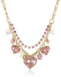 Betsey Johnson Iconic Pinkalicious Crystal Heart Multi Charm Necklace 19