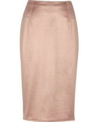 River Island Blush Pink Soft Pencil Skirt