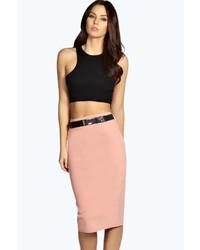 Boohoo Sienna Metal Belt Scuba Midi Skirt