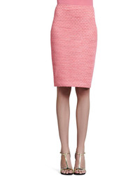 St. John Collection Space Dyed Damier Pencil Skirt Flamingo Pink