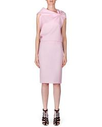 Roland Mouret High Waist Wool Crepe Pencil Skirt Light Pink