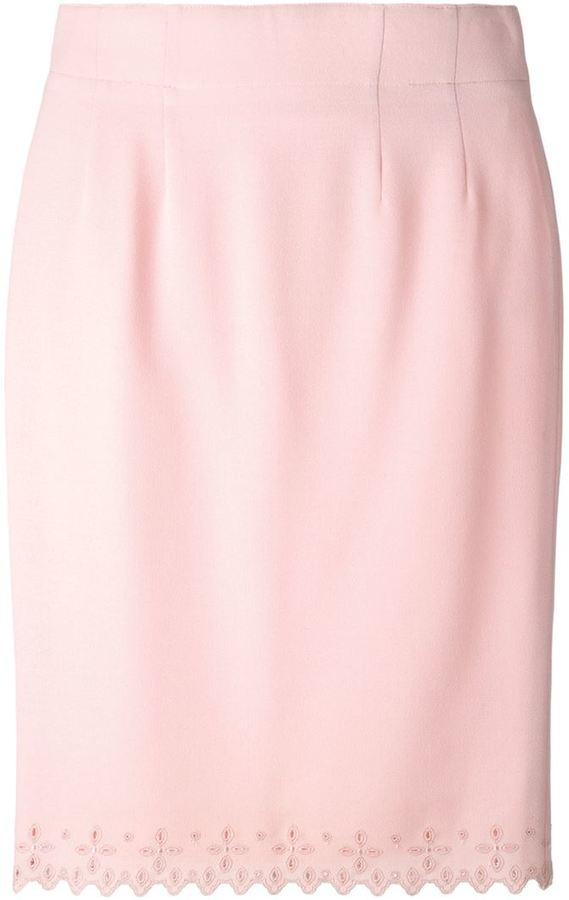 39e4e8b797 Jean Louis Scherrer Vintage Embroidered Hem Pencil Skirt, $182 ...