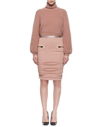 Tom Ford Leather Trim Shirred Pencil Skirt