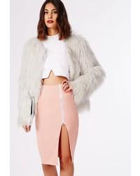 Missguided Alyx Zip Side Split Midi Skirt Dusky Pink